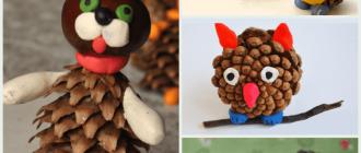 Поделки из шишек своими руками: фото и мастер-классы фигурок для детей