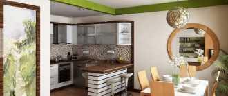 Интерьер кухни совмещенной с гостиной: зонирование, перегородки, освещение, фото